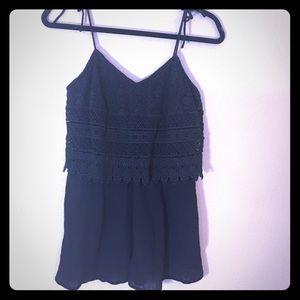 Topshop black crochet top romper EUC size 6 cute